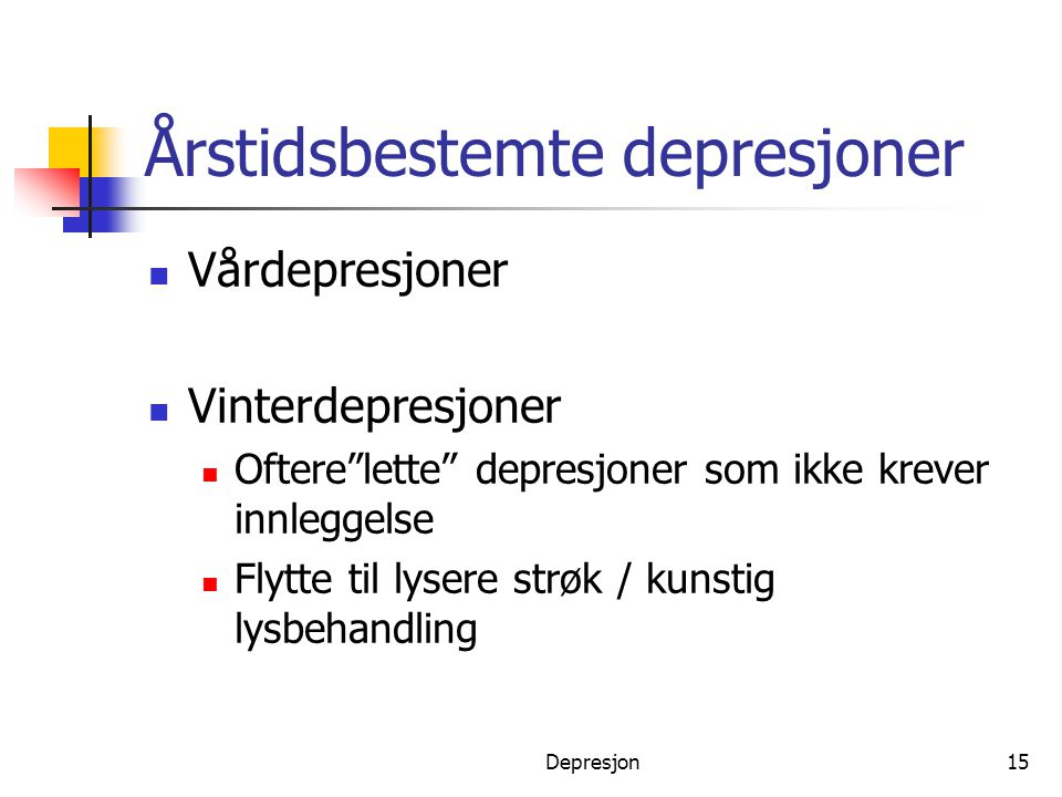 Årstidsbestemte depresjoner