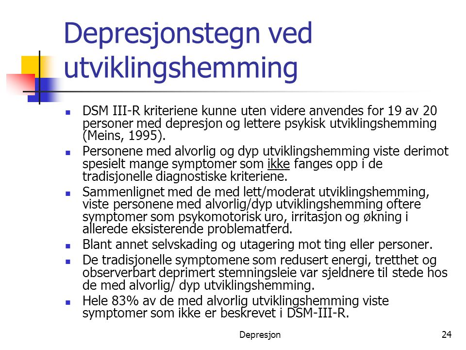 Depresjonstegn ved utviklingshemming