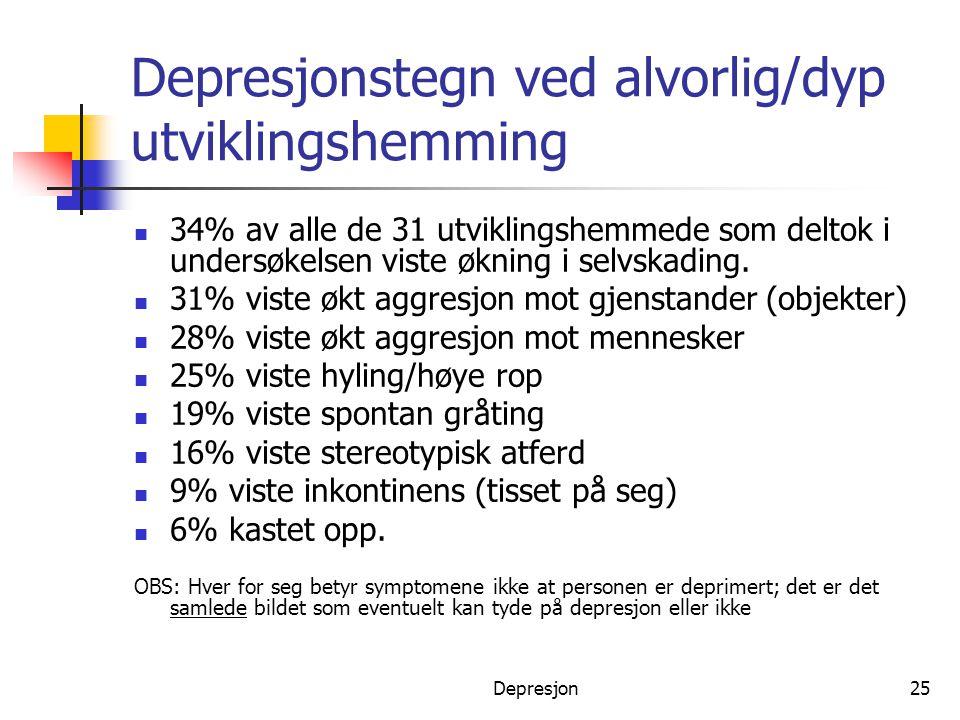 Depresjonstegn ved alvorlig/dyp utviklingshemming