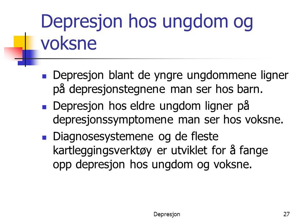 Depresjon hos ungdom og voksne