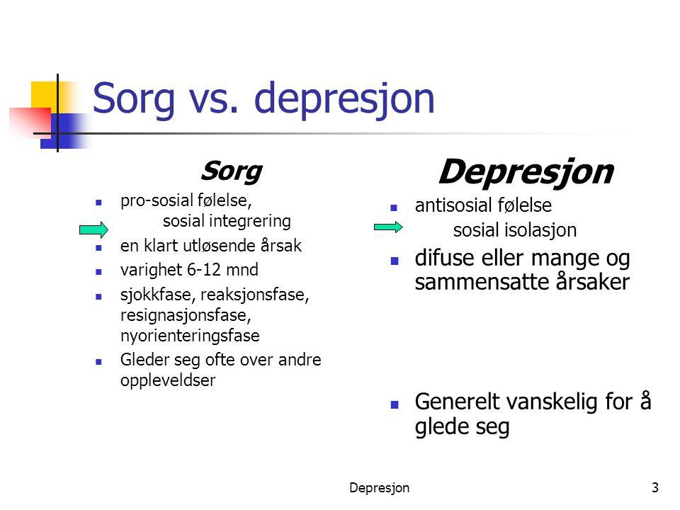 Sorg vs. depresjon Depresjon Sorg