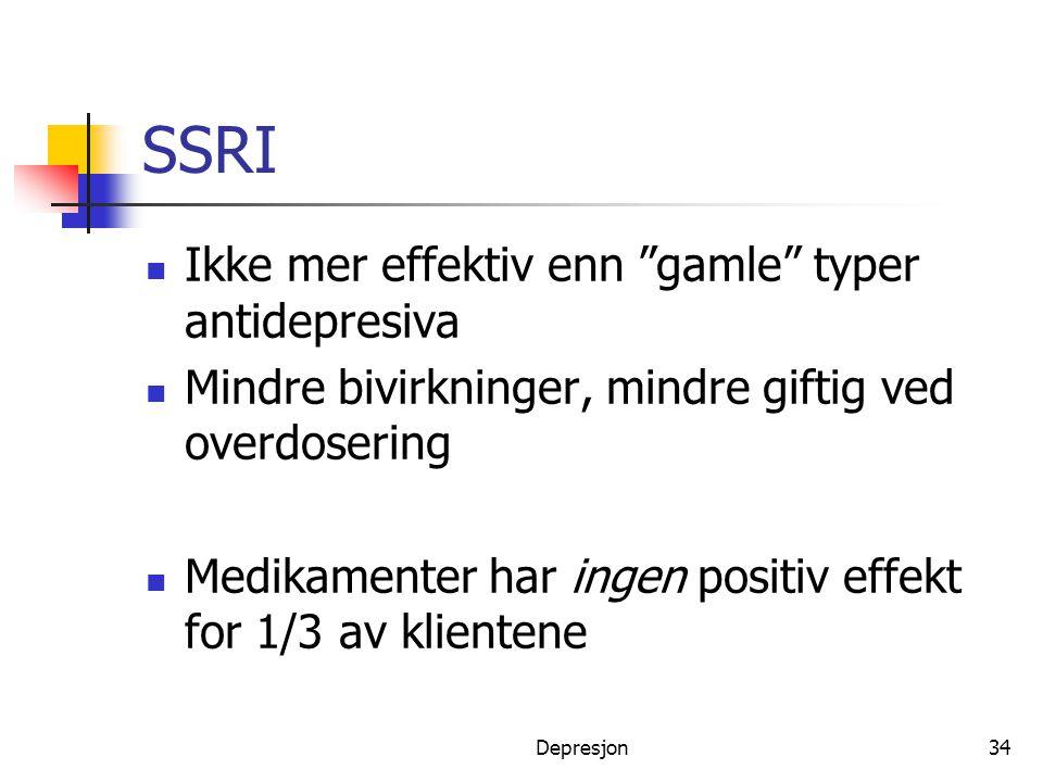 SSRI Ikke mer effektiv enn gamle typer antidepresiva