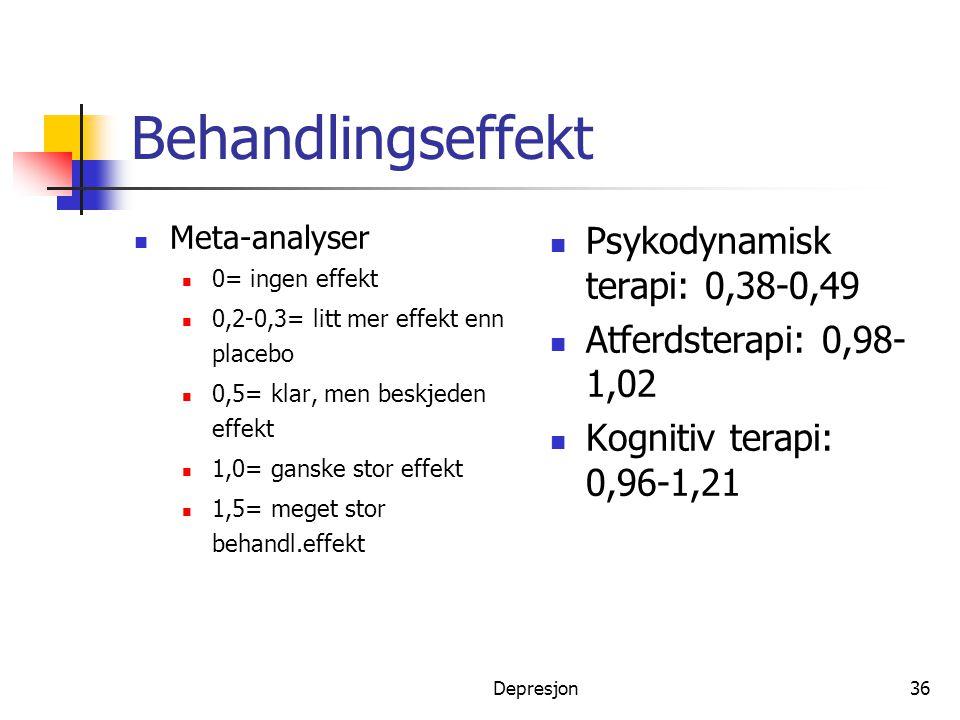 Behandlingseffekt Psykodynamisk terapi: 0,38-0,49