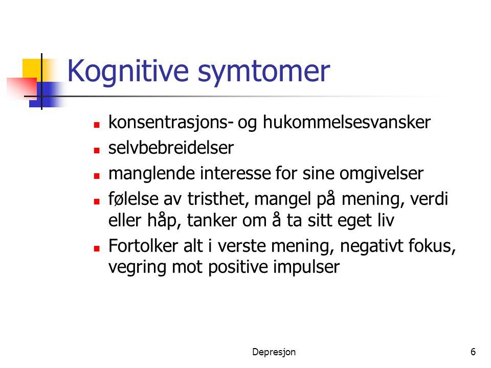 Kognitive symtomer konsentrasjons- og hukommelsesvansker