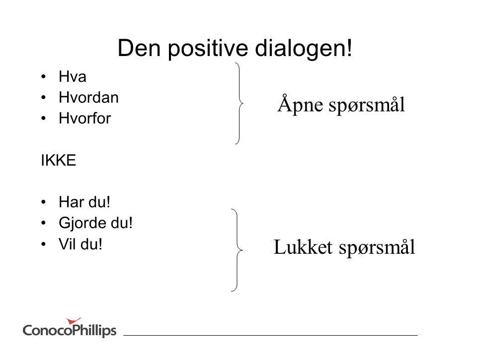 Den positive dialogen! Åpne spørsmål Lukket spørsmål Hva Hvordan