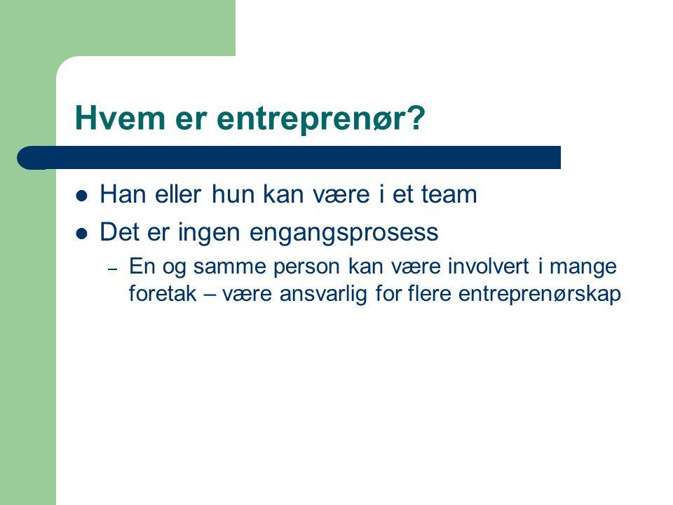 Hvem er entreprenør Han eller hun kan være i et team