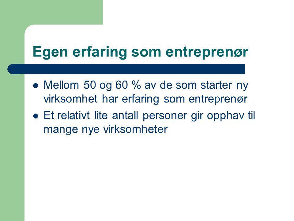 Egen erfaring som entreprenør