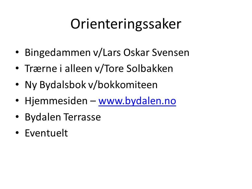 Orienteringssaker Bingedammen v/Lars Oskar Svensen