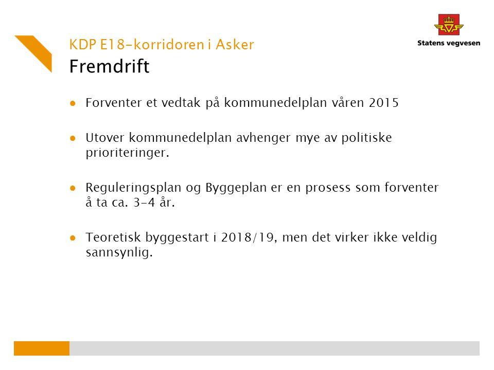 Fremdrift KDP E18-korridoren i Asker