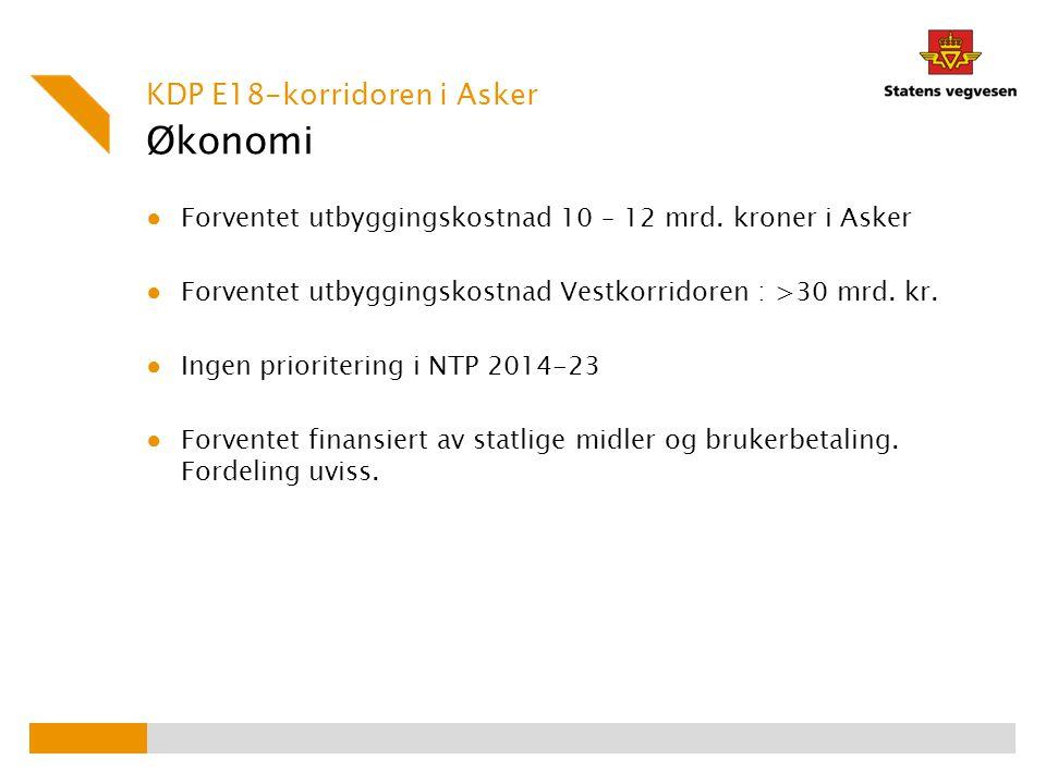 Økonomi KDP E18-korridoren i Asker