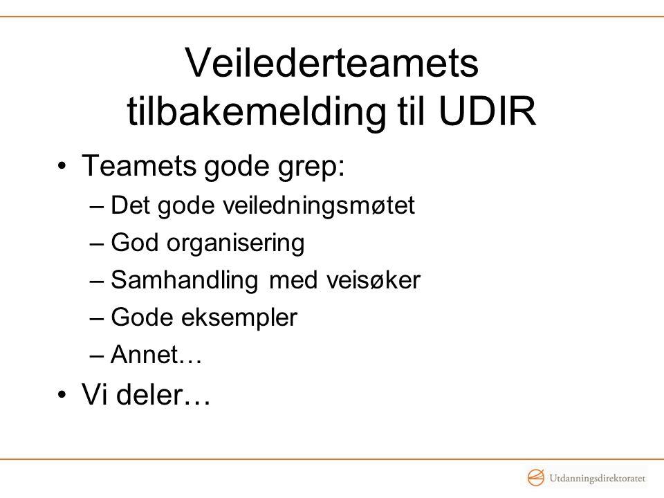Veilederteamets tilbakemelding til UDIR