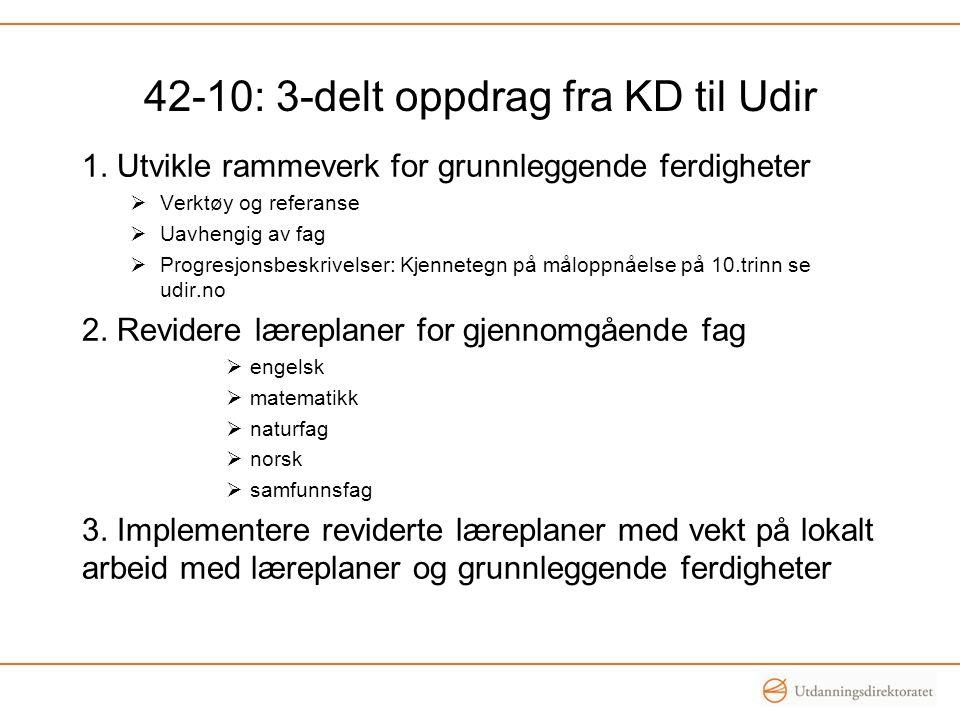 42-10: 3-delt oppdrag fra KD til Udir