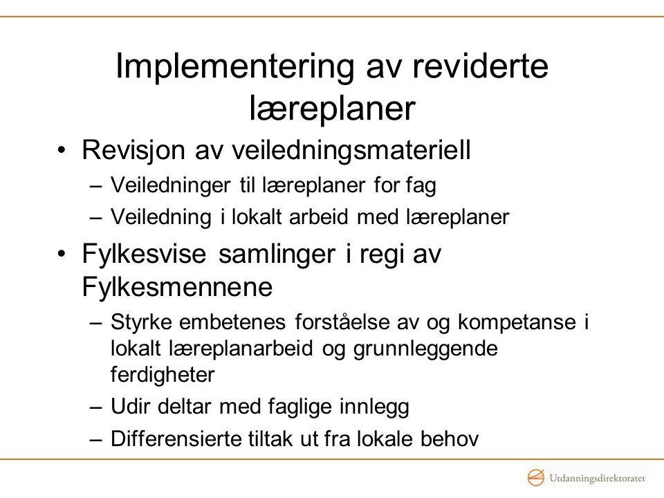 Implementering av reviderte læreplaner