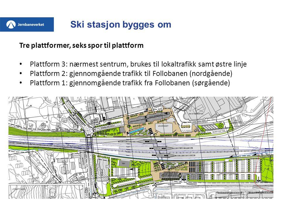 Ski stasjon bygges om Tre plattformer, seks spor til plattform