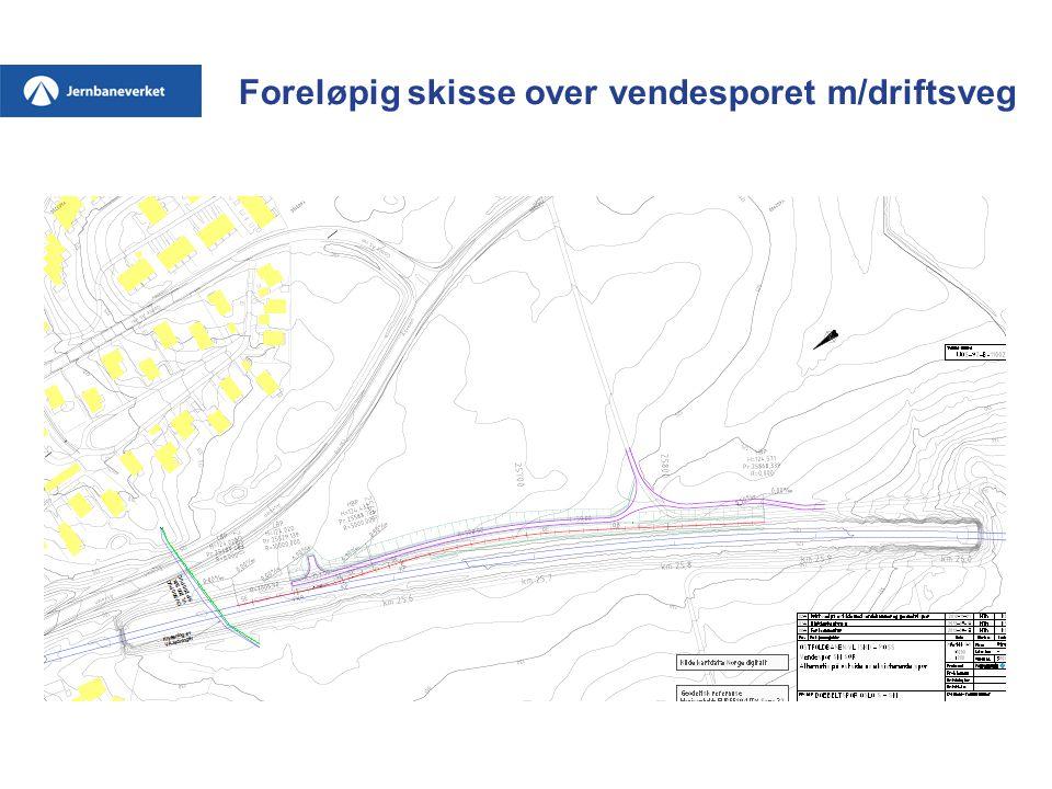 Foreløpig skisse over vendesporet m/driftsveg