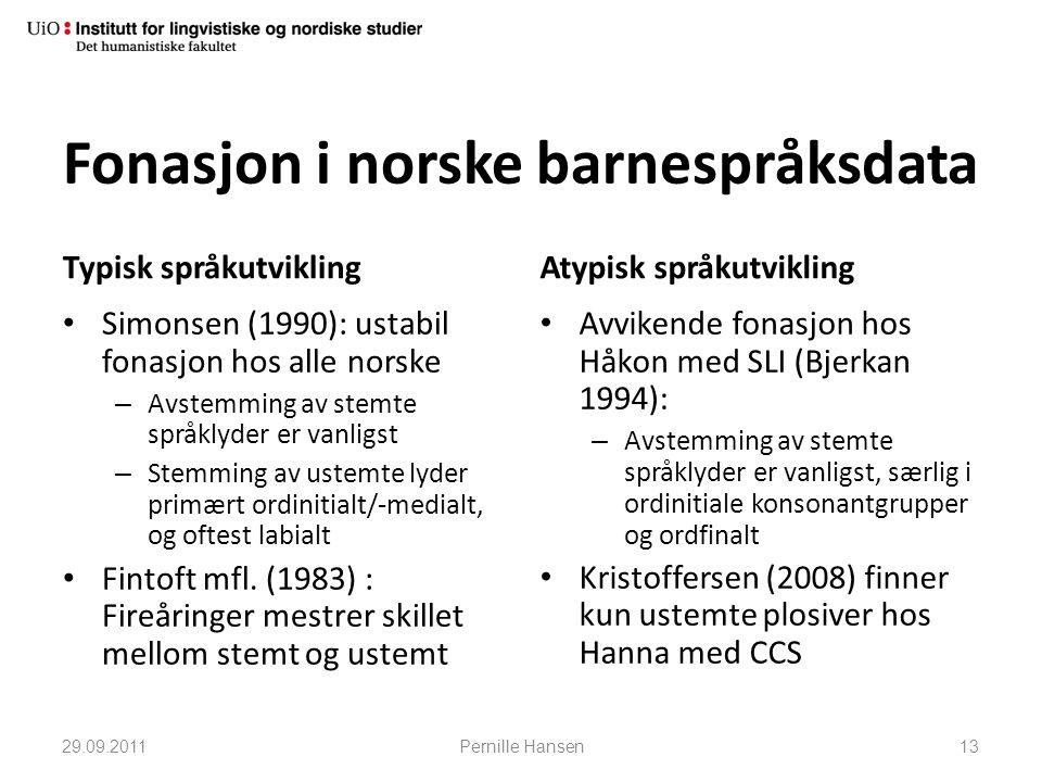 Fonasjon i norske barnespråksdata