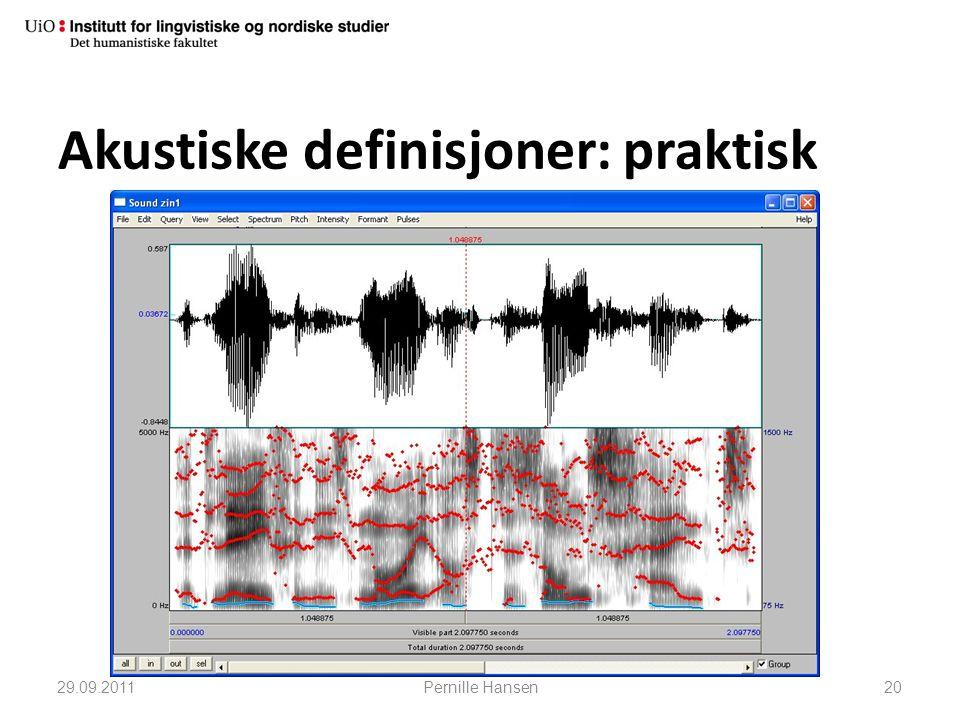 Akustiske definisjoner: praktisk