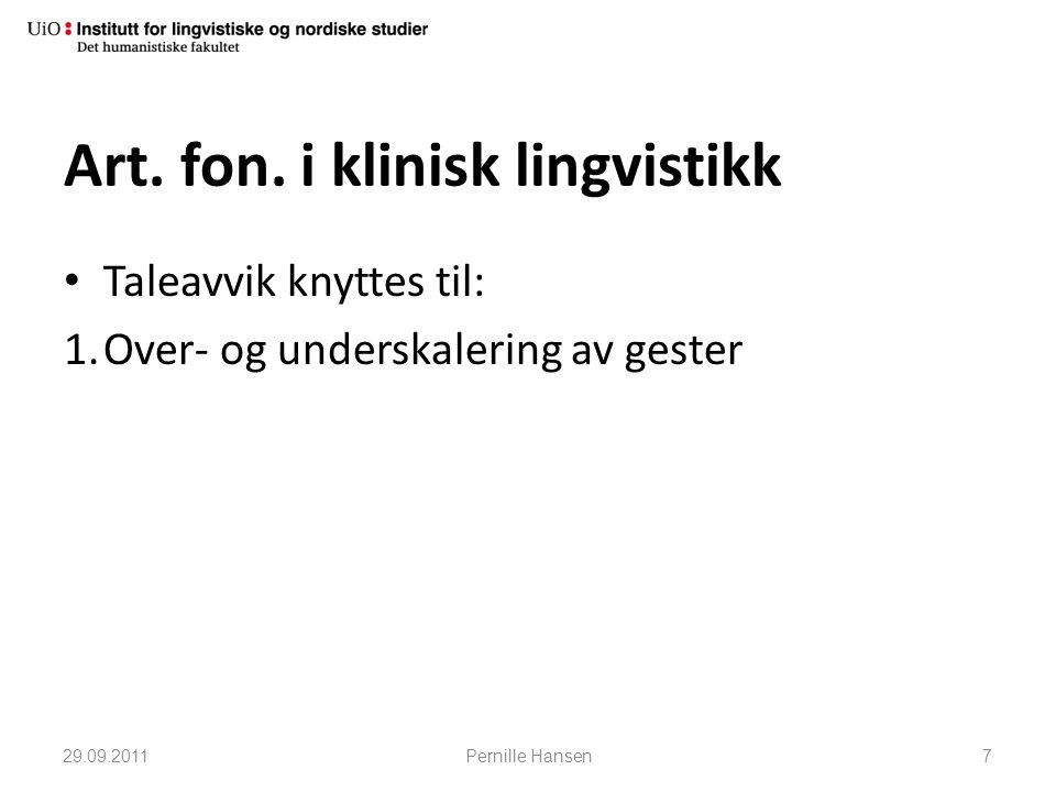 Art. fon. i klinisk lingvistikk