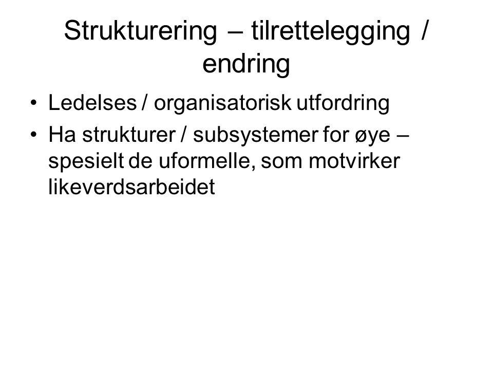 Strukturering – tilrettelegging / endring