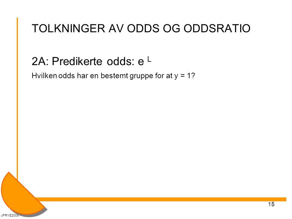 TOLKNINGER AV ODDS OG ODDSRATIO 2A: Predikerte odds: e L