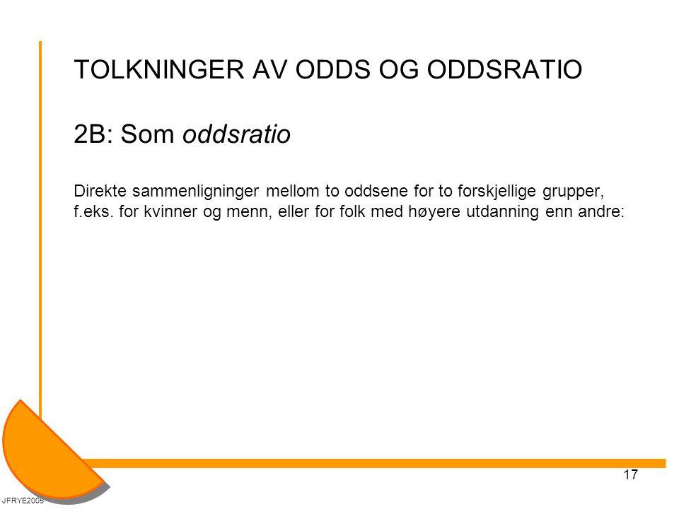TOLKNINGER AV ODDS OG ODDSRATIO 2B: Som oddsratio