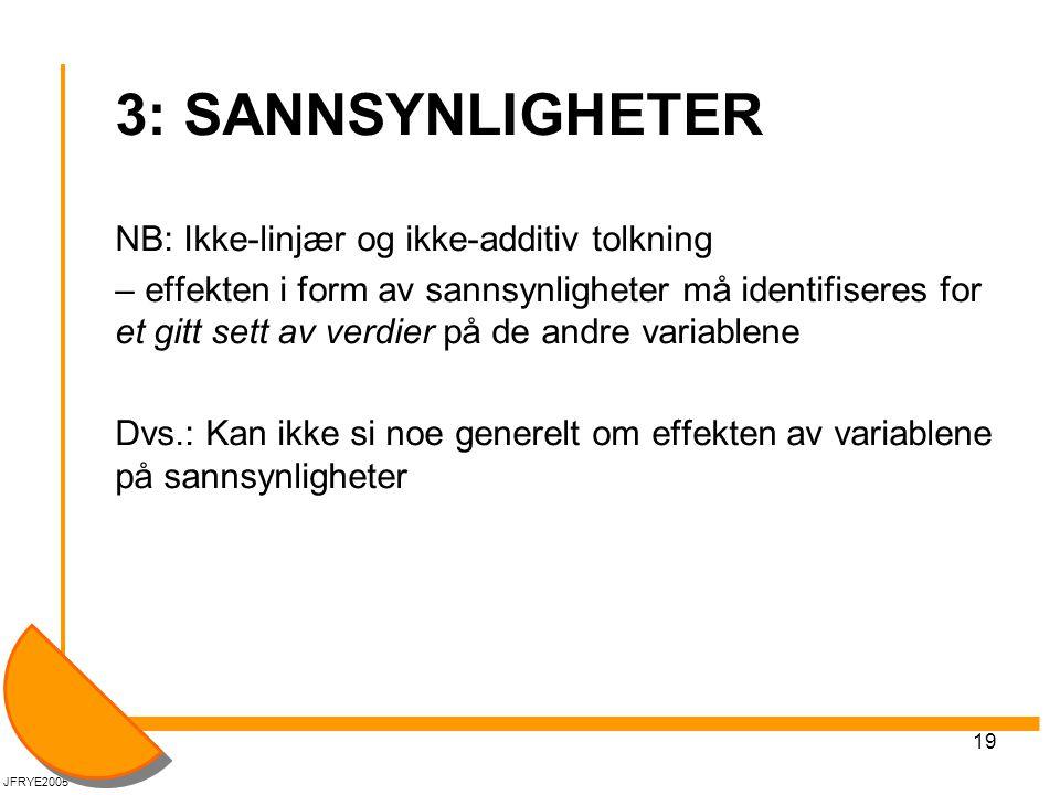 3: SANNSYNLIGHETER NB: Ikke-linjær og ikke-additiv tolkning