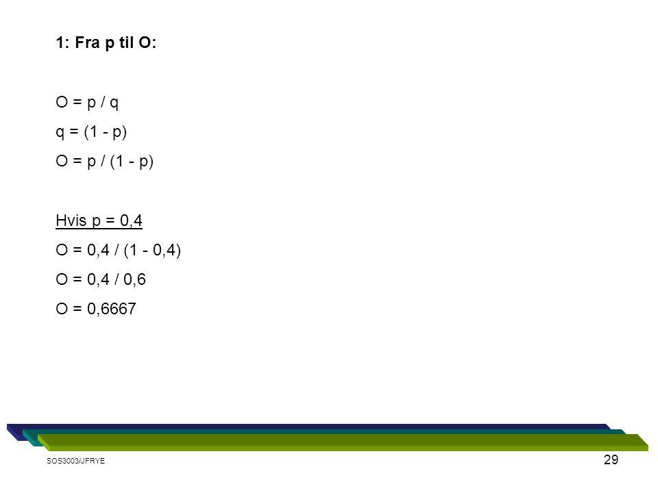1: Fra p til O: O = p / q q = (1 - p) O = p / (1 - p) Hvis p = 0,4