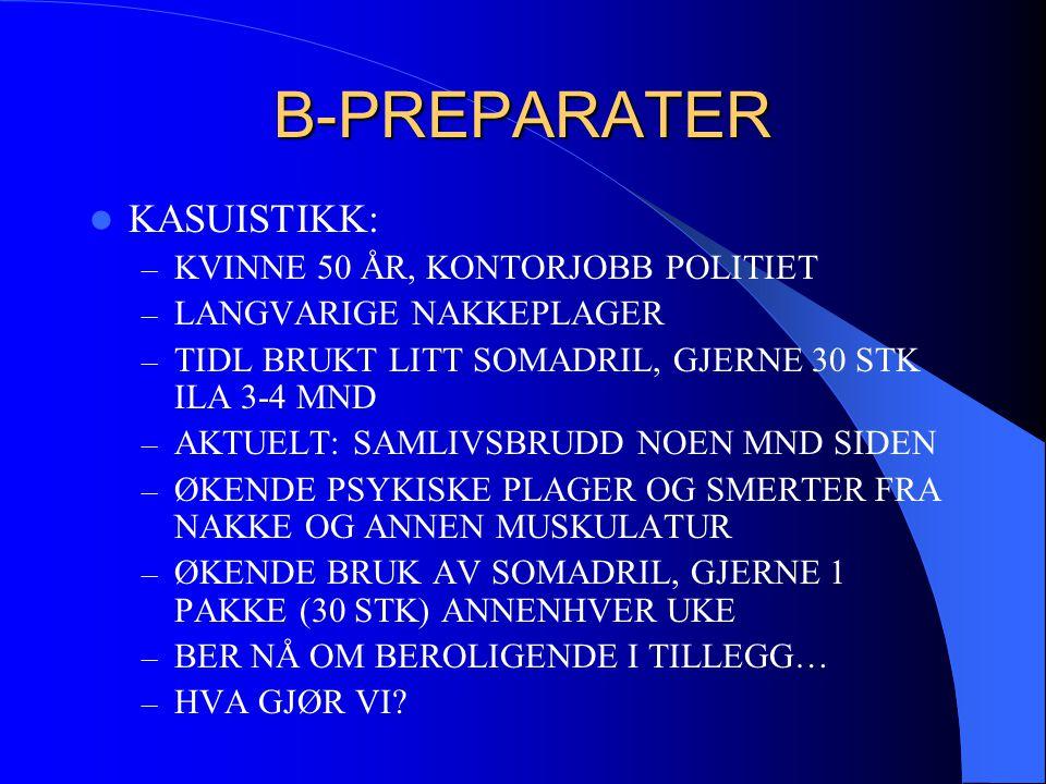 B-PREPARATER KASUISTIKK: KVINNE 50 ÅR, KONTORJOBB POLITIET