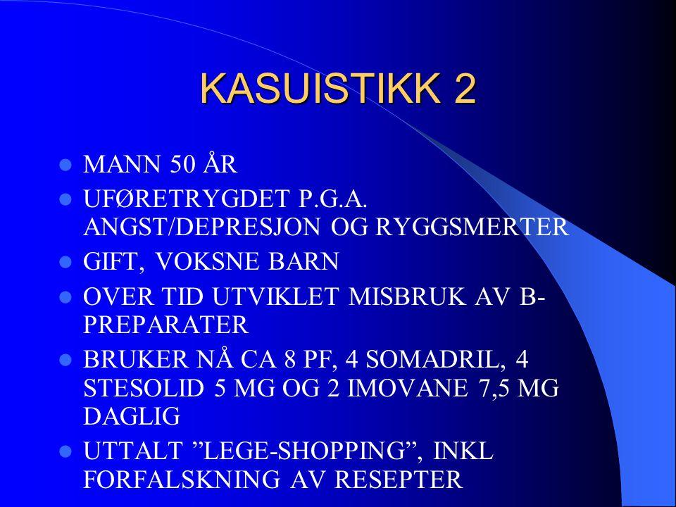 KASUISTIKK 2 MANN 50 ÅR. UFØRETRYGDET P.G.A. ANGST/DEPRESJON OG RYGGSMERTER. GIFT, VOKSNE BARN. OVER TID UTVIKLET MISBRUK AV B-PREPARATER.