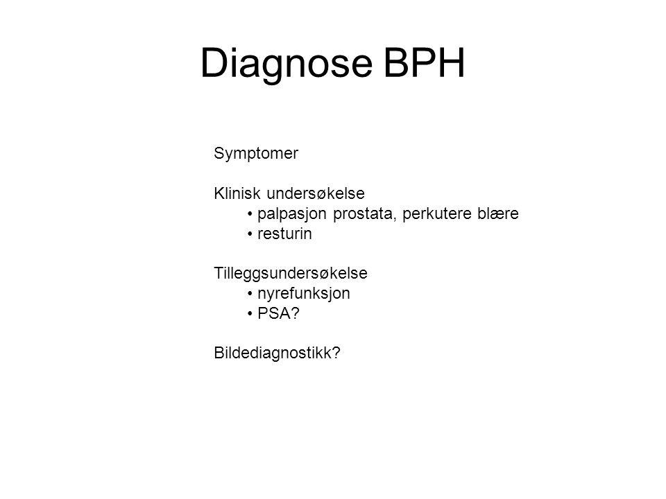 Diagnose BPH Symptomer Klinisk undersøkelse
