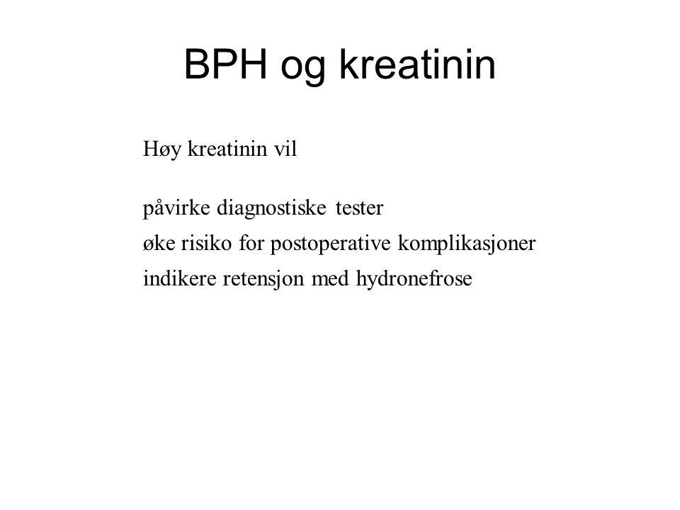 BPH og kreatinin Høy kreatinin vil påvirke diagnostiske tester