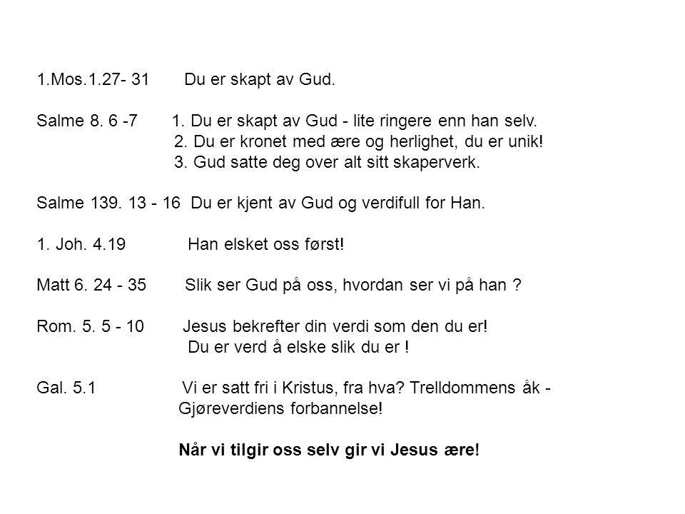 1.Mos.1.27- 31 Du er skapt av Gud. Salme 8. 6 -7 1. Du er skapt av Gud - lite ringere enn han selv.