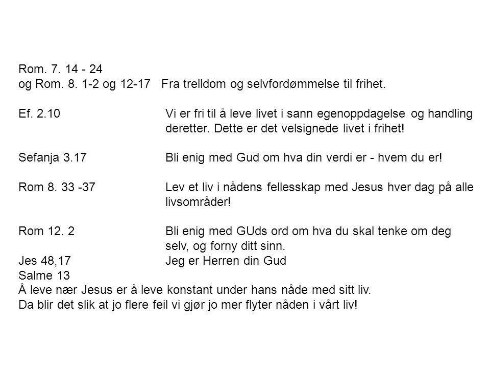 Rom. 7. 14 - 24 og Rom. 8. 1-2 og 12-17 Fra trelldom og selvfordømmelse til frihet.