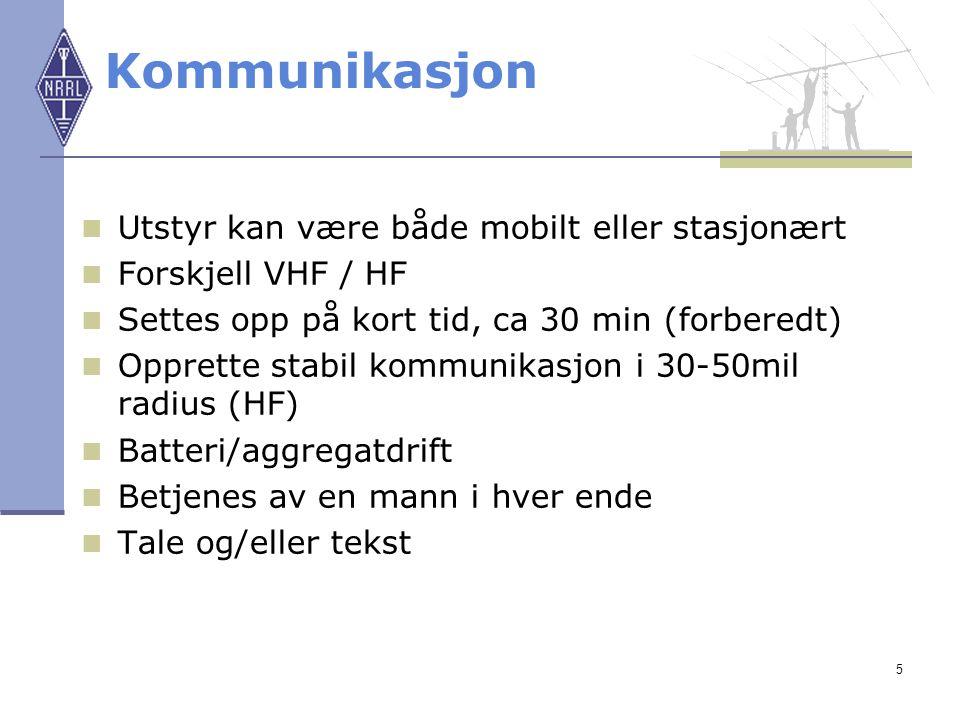 Kommunikasjon Utstyr kan være både mobilt eller stasjonært