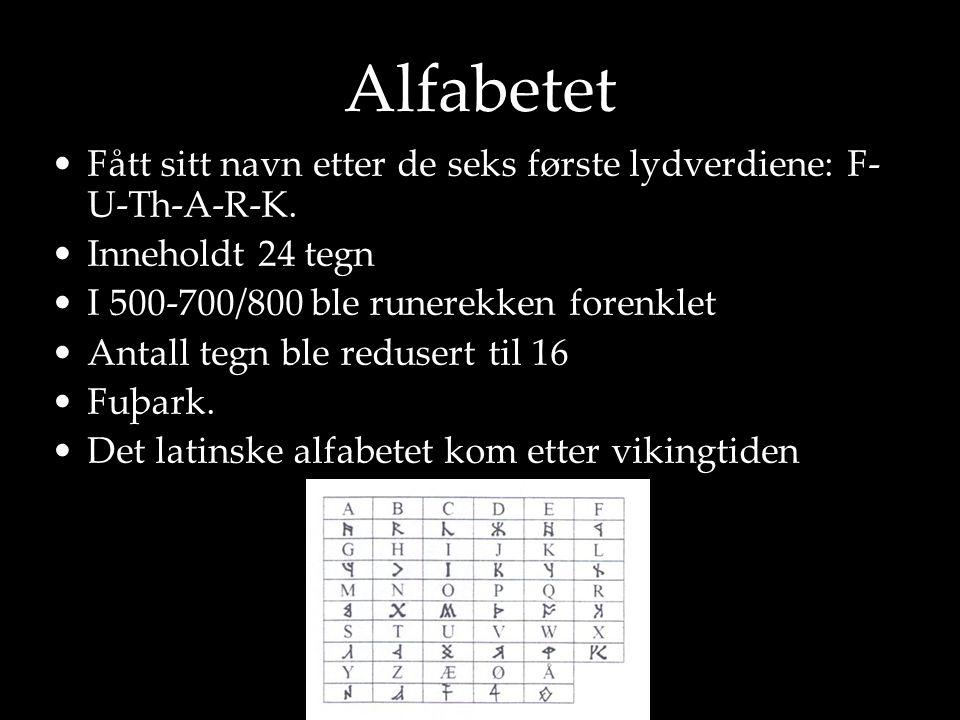 Alfabetet Fått sitt navn etter de seks første lydverdiene: F-U-Th-A-R-K. Inneholdt 24 tegn. I 500-700/800 ble runerekken forenklet.