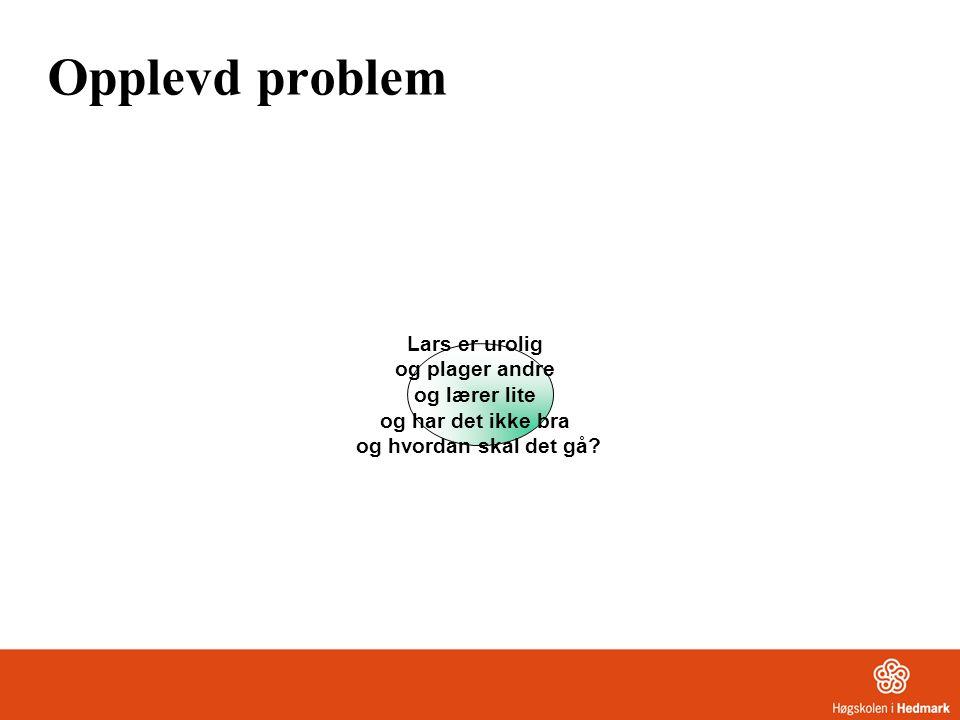 Opplevd problem Lars er urolig og plager andre og lærer lite