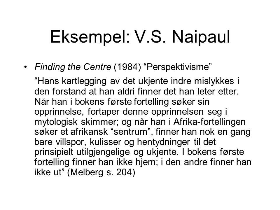 Eksempel: V.S. Naipaul Finding the Centre (1984) Perspektivisme
