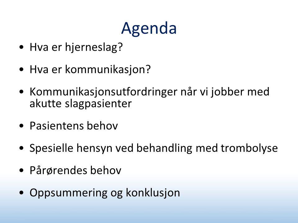 Agenda Hva er hjerneslag Hva er kommunikasjon