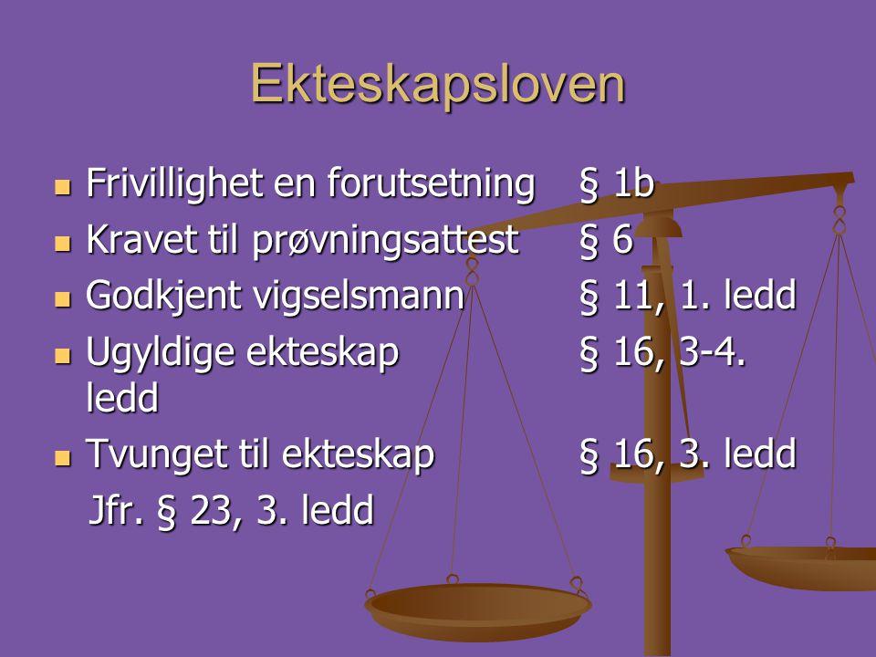 Ekteskapsloven Frivillighet en forutsetning § 1b