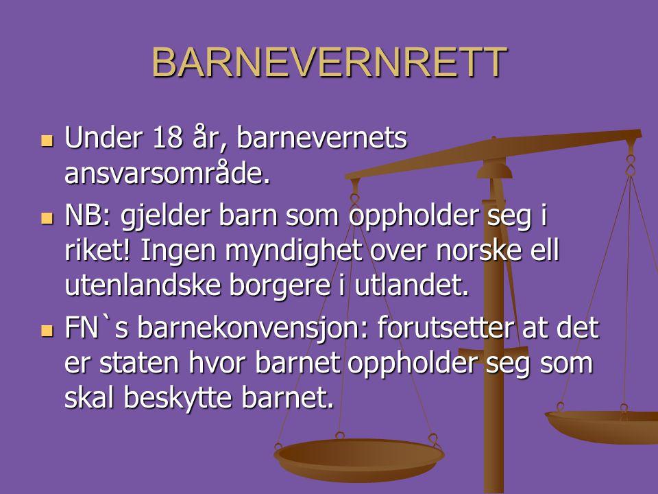 BARNEVERNRETT Under 18 år, barnevernets ansvarsområde.