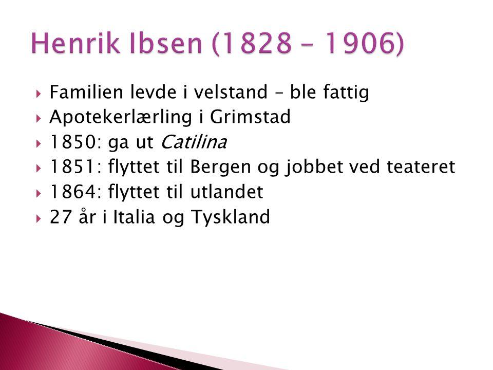 Henrik Ibsen (1828 – 1906) Familien levde i velstand – ble fattig