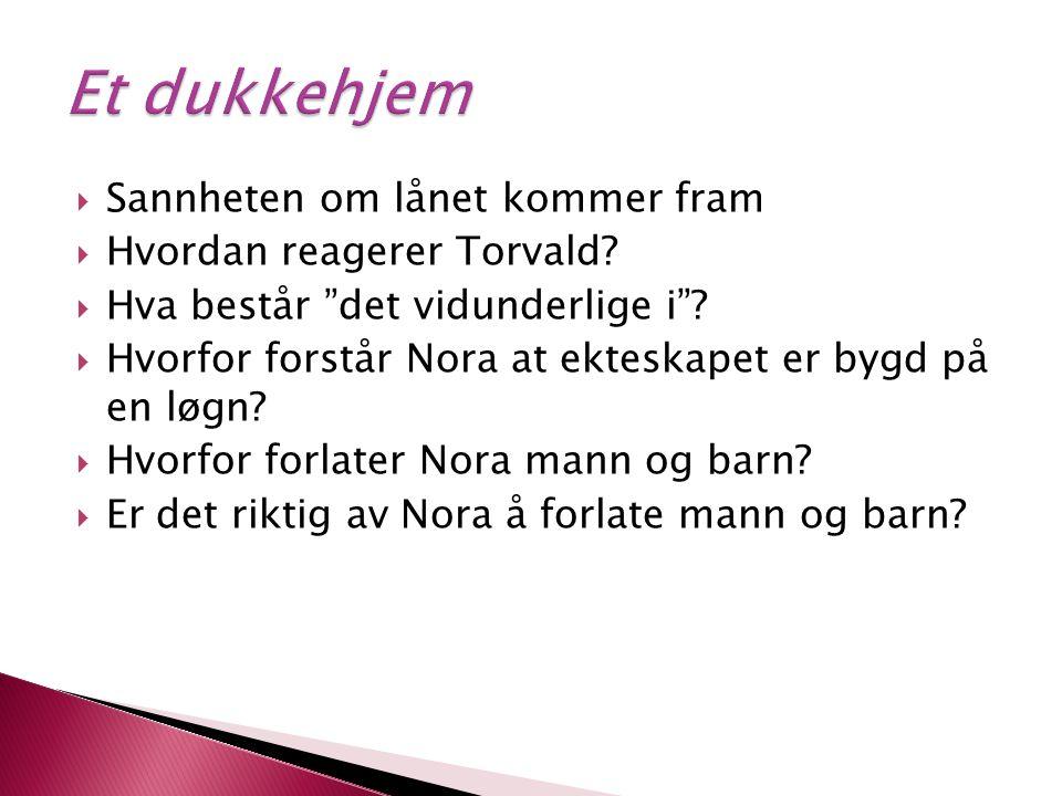 Et dukkehjem Sannheten om lånet kommer fram Hvordan reagerer Torvald
