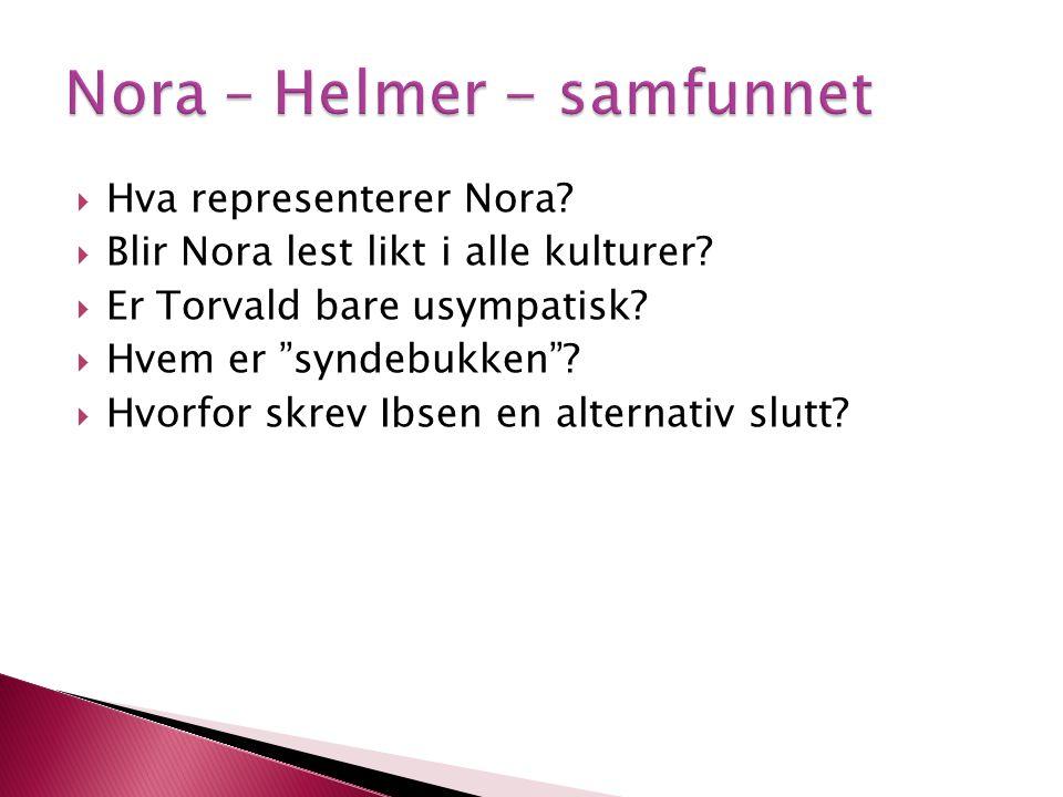 Nora – Helmer - samfunnet