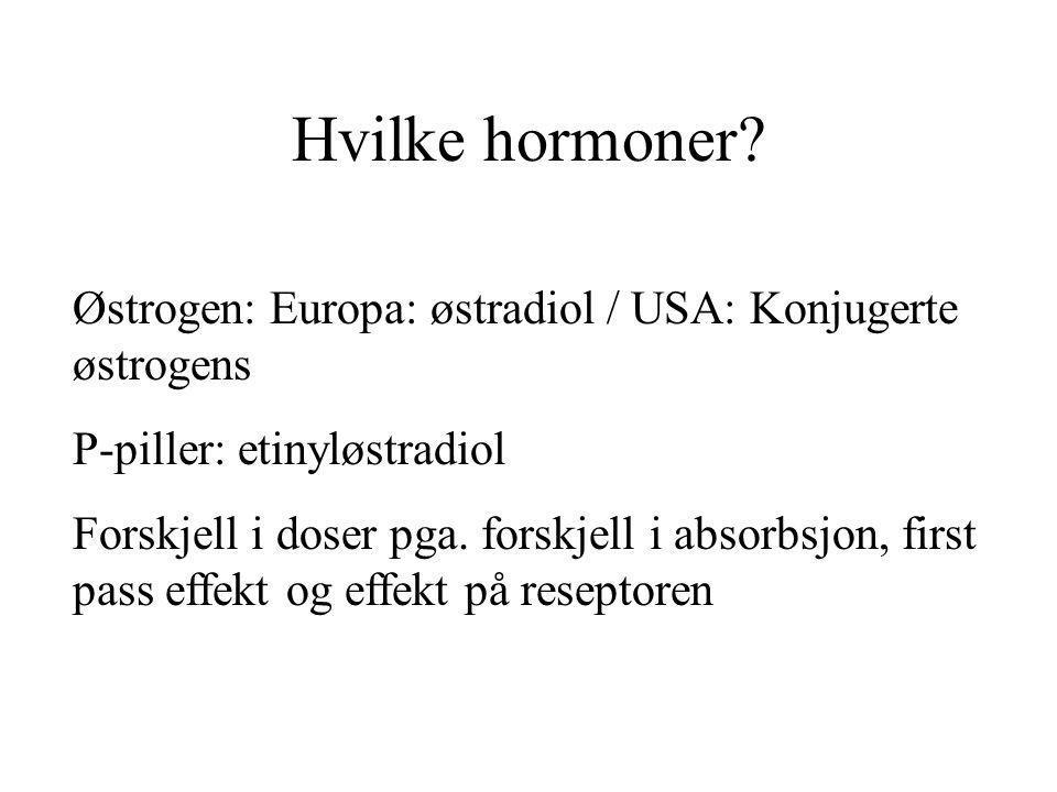 Hvilke hormoner Østrogen: Europa: østradiol / USA: Konjugerte østrogens. P-piller: etinyløstradiol.