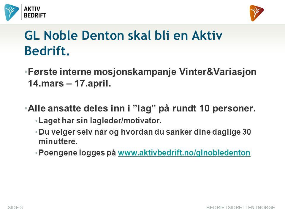 GL Noble Denton skal bli en Aktiv Bedrift.