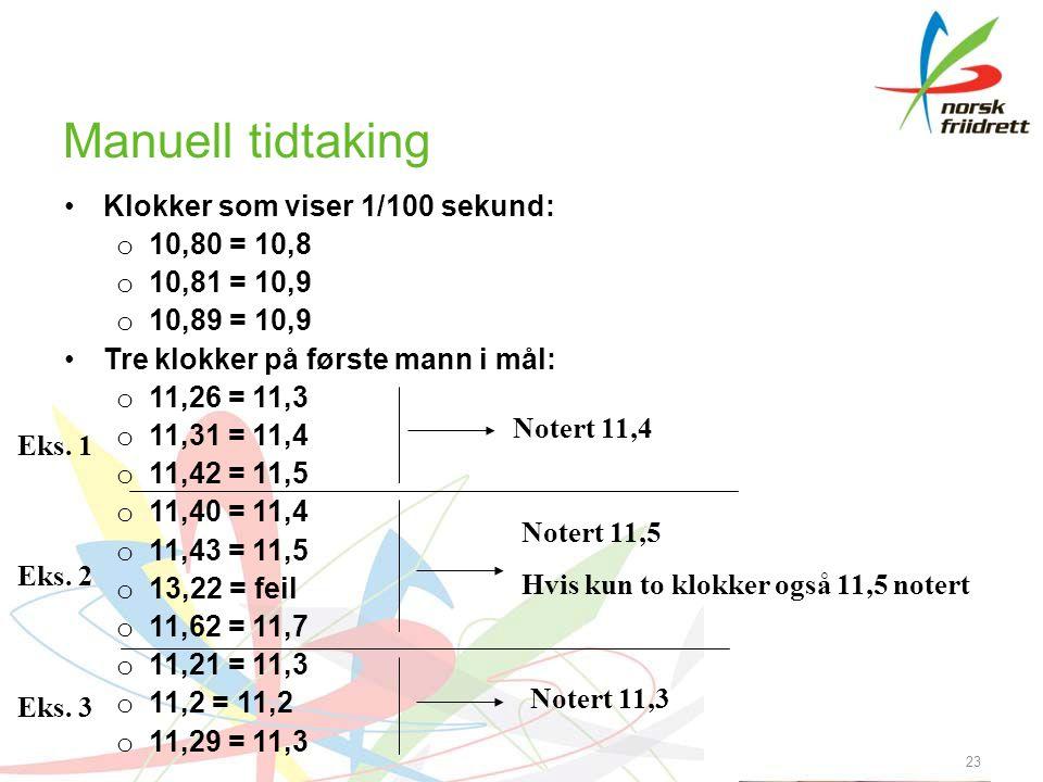 Manuell tidtaking Klokker som viser 1/100 sekund: 10,80 = 10,8