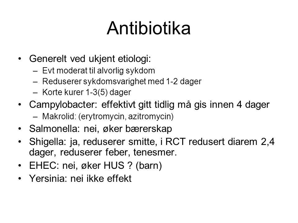 Antibiotika Generelt ved ukjent etiologi: