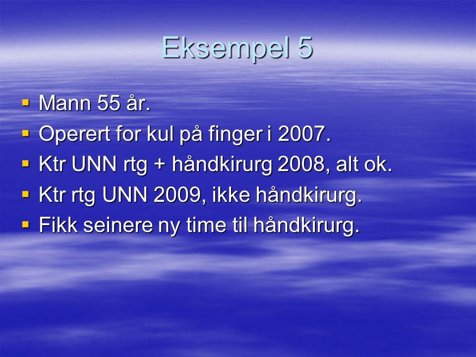Eksempel 5 Mann 55 år. Operert for kul på finger i 2007.