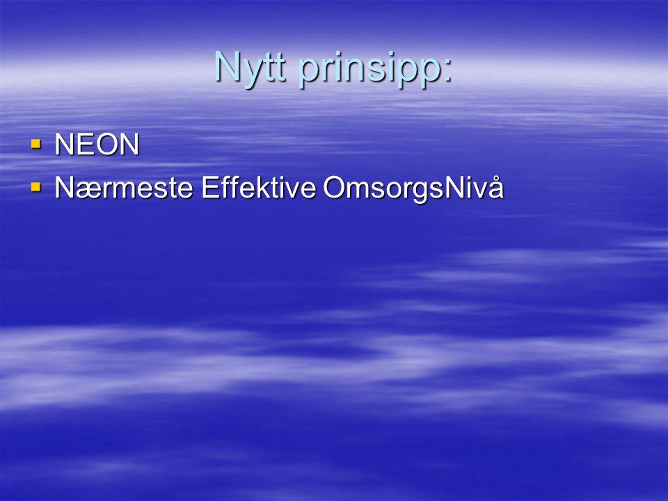 Nytt prinsipp: NEON Nærmeste Effektive OmsorgsNivå