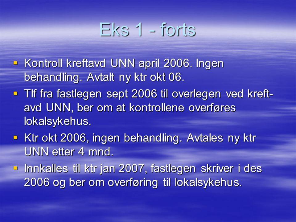Eks 1 - forts Kontroll kreftavd UNN april 2006. Ingen behandling. Avtalt ny ktr okt 06.
